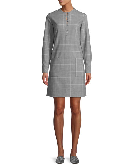 Button-Front Long-Sleeve Check Tunic