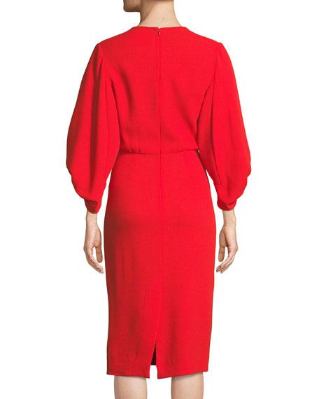 V-Neck Full-Sleeve Fitted Crepe Cocktail Dress