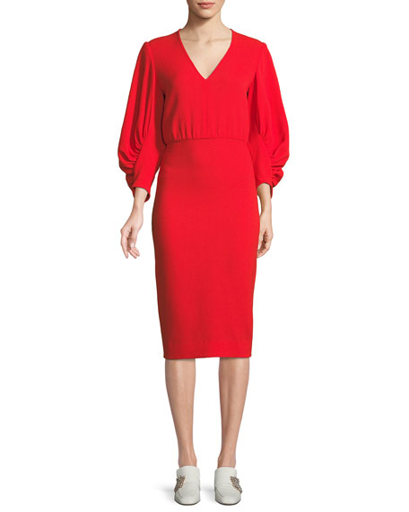V-Neck Full-Sleeve Fitted Crepe Cocktail Dress