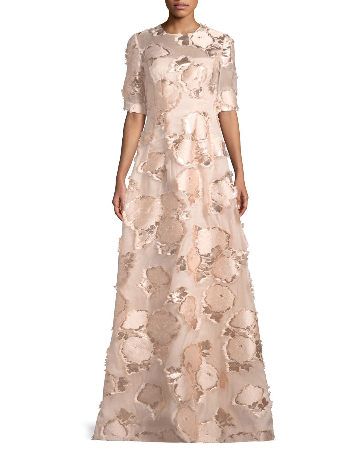 Lela Rose Holly Elbow Sleeve Embroidered A Line Evening Gown