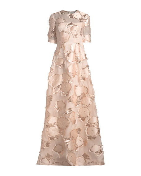 Holly Elbow-Sleeve Embroidered A-Line Evening Gown
