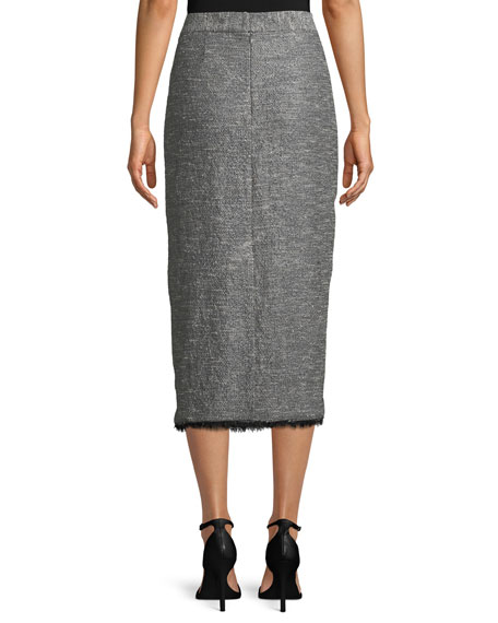Tweed Fringe-Hem Midi Pencil Skirt