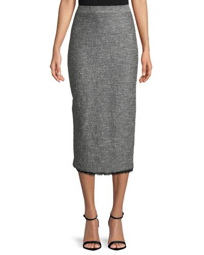 Tweed Fringe-Hem Midi Pencil Skirt