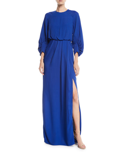 Full-Sleeve Front-Slit Crepe Column Evening Gown