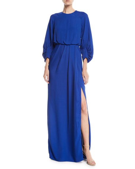 Full-Sleeve Front-Slit Crepe Column Evening Gown