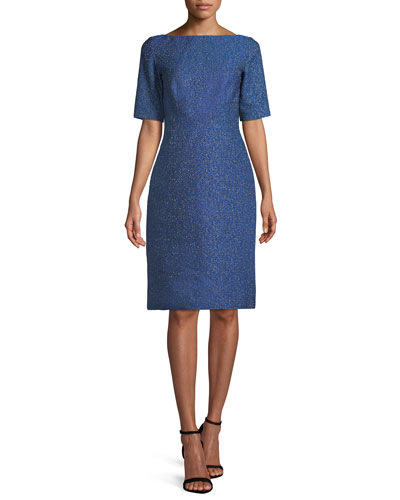 Boat-Neck Elbow-Sleeve Brocade A-Line Cocktail Dress