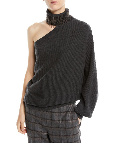 One-Shoulder Monili Fringe Turtleneck Ribbed Cashmere Sweater