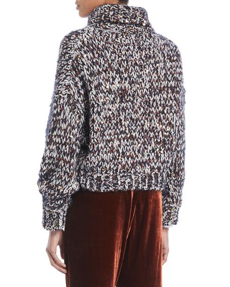 Turtleneck Long-Sleeve Velvet Effect Tweed Paillettes Mohair-Blend Sweater