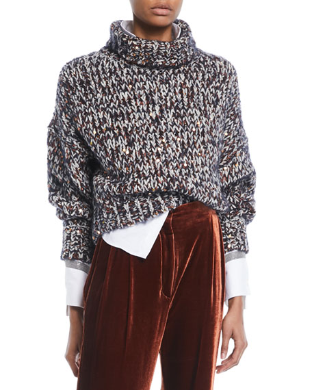 Brunello Cucinelli Turtleneck Long-Sleeve Velvet Effect Tweed