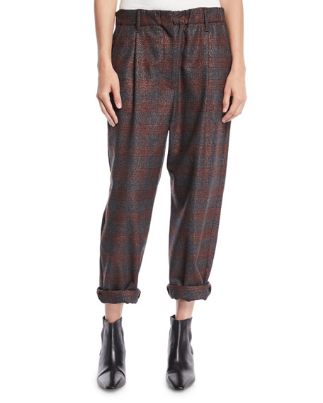 Metallic-Plaid Pull-On Pants