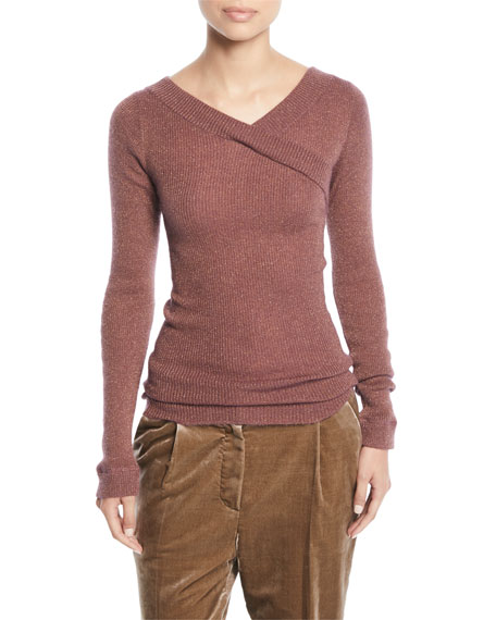 V-Neck Long-Sleeve Metallic Mohair Ribbed Sweater