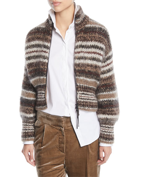 Brunello Cucinelli Zip-Front Striped Mohair Cardigan and Matching