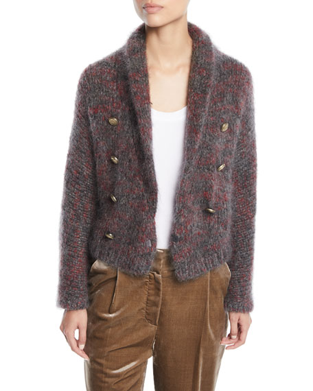 Mohair-Cashmere Melange Cropped Cardigan