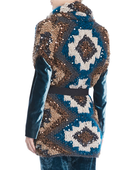 Peacock Folkloric Paillette Cap-Sleeve Cashmere Chunky-Knit Cardigan w/ Belt