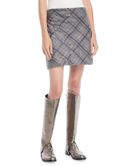 Straight Plaid Wool Mini Skirt w/ Paillettes