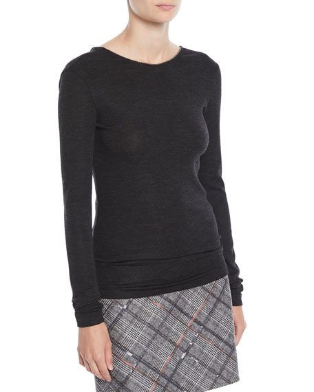 Long-Sleeve Wool-Jersey Sweater w/ Monili Trim
