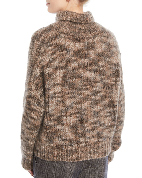Melange Mohair-Cashmere Turtleneck Sweater