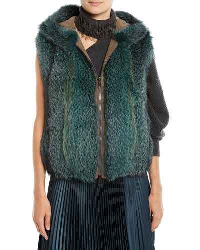 Zip-Front Fox-Fur Reverses to Taffeta Vest w/ Hood