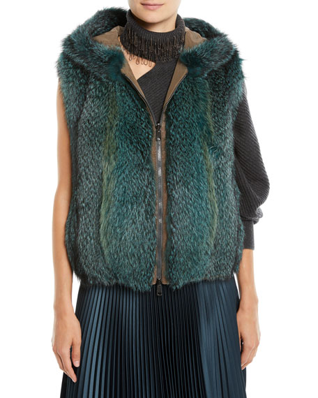 Brunello Cucinelli Zip-Front Fox-Fur Reverses to Taffeta Vest