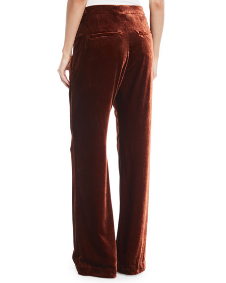 Straight-Leg Liquid Velvet Full-Length Pants