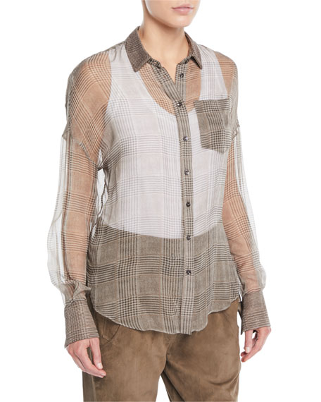 Button-Front Plaid Silk Chiffon Blouse