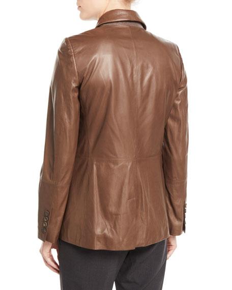 Shawl-Collar One-Button Leather Blazer w/ Monili Trim