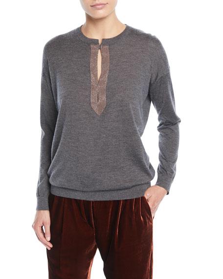Monili Henley Cashmere-Silk Pullover Sweater