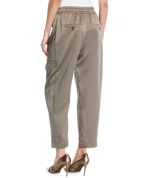 Satin Jogger Pants w/ Square Pocket & Monili Trim