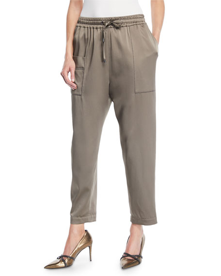 Brunello Cucinelli Satin Jogger Pants w/ Square Pocket
