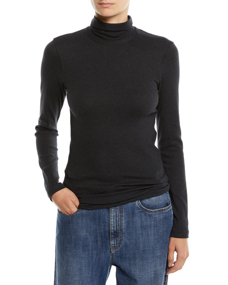 Jersey Turtleneck Top with Monili Back