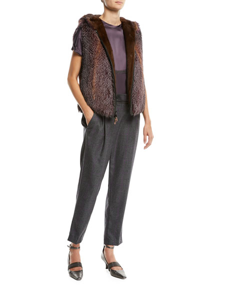 Wool Check Side-Zip Pants w/ Monili Waistband