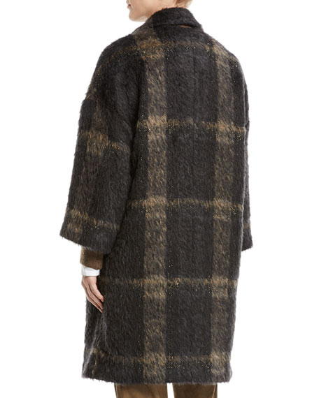 Double-Breasted Windowpane Alpaca-Wool Coat