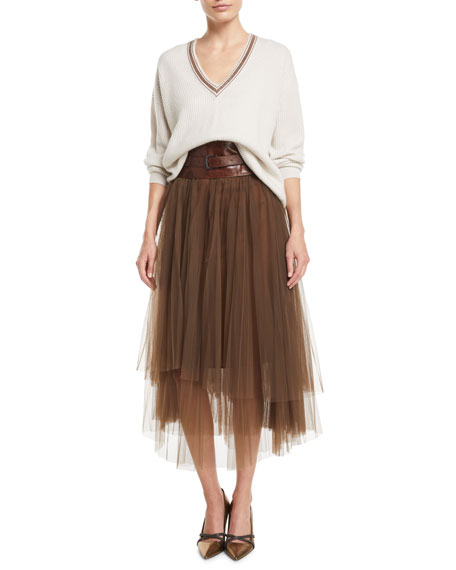 Monili-Waistband Pleated Tulle Midi Skirt