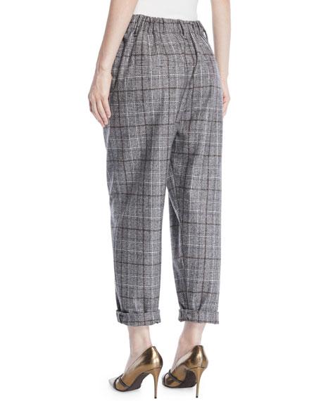 Plaid Wool Cropped Pants