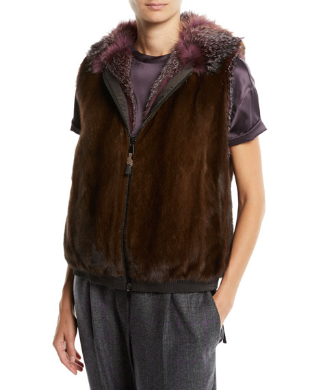 Reversible Fox & Mink Fur Vest