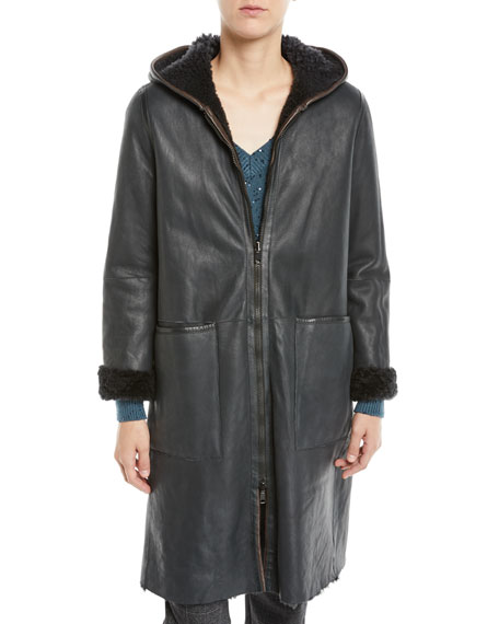Curly Hair Shearling Reversible to Leather Zip-Front Jacket w/ Hood
