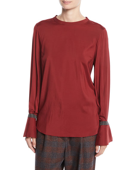Jewel-Neck Long-Sleeve Monili Flounce-Cuff Silk Blouse