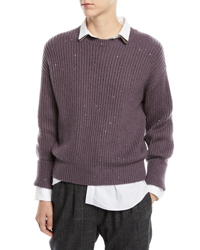 Long-Sleeve Paillette Ribbed Pullover Cashmere-Silk Sweater