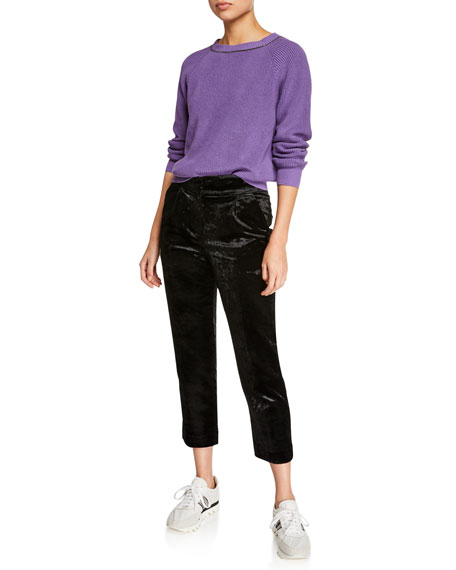 Straight-Leg Cropped Velvet Pants w/ Pleats