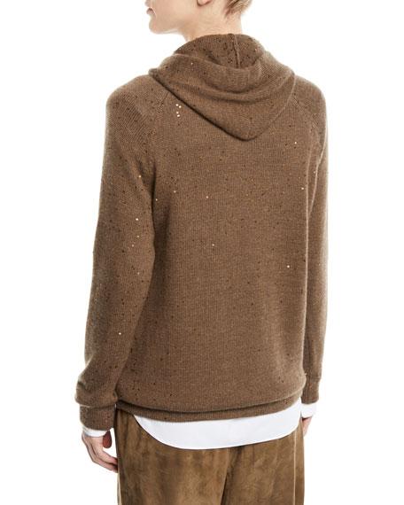 Cashmere-Silk Paillette Pullover Hoodie w/ Monili Ties