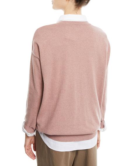 Cashmere Crewneck Sweater w/ Monili Stripe