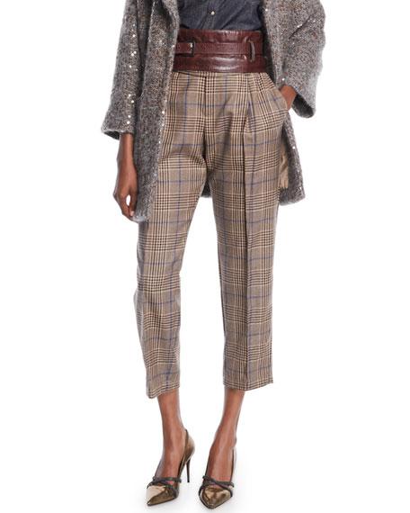 Brunello Cucinelli Plaid-Wool Straight-Leg Pants