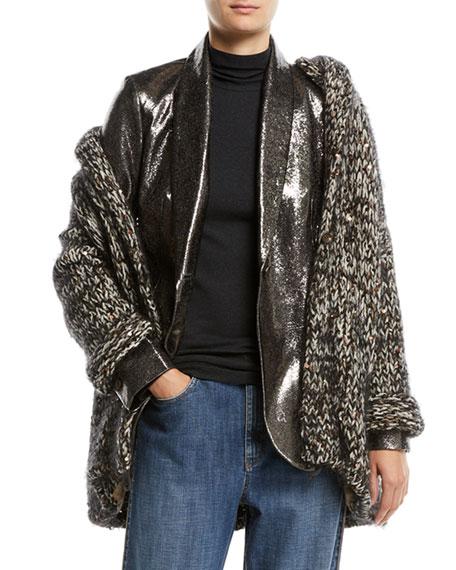 Hooded Velvet Effect Tweed Cardigan w/ Macro Paillettes