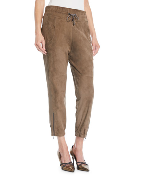 Brunello Cucinelli Drawstring Cropped Suede Joggers w/ Ankle