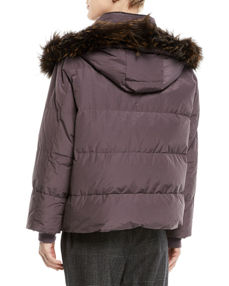 Removable-Fur-Collar Down Puffer Jacket w/ Monili Trim