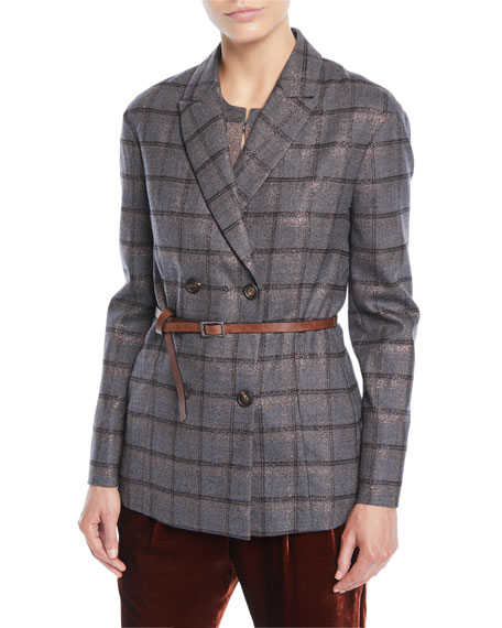 Double-Breasted Metallic Plaid Blazer w/ Leather Belt