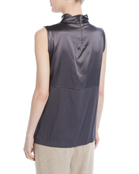 Mock-Neck Sleeveless Satin Tank w/ Monili Band