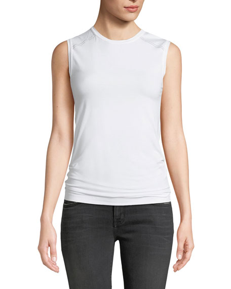 Brunello Cucinelli Crewneck Cotton Tank with Monili Shoulder