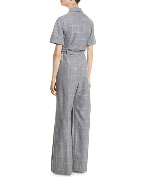 Short-Sleeve Belted Windowpane Check Wide-Leg Wool-Blend Jumpsuit