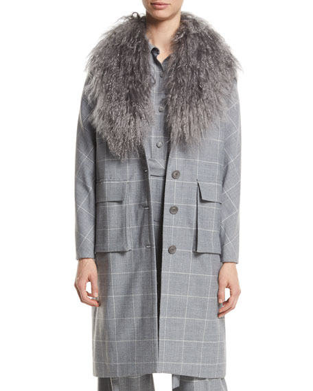 Lela Rose Button-Front Check Wool Coat with Mongolian